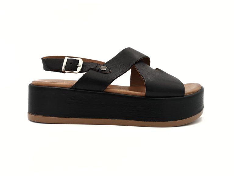 Sandalia piel negra Carmela